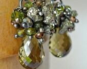 Sale Olive Green Earrings, Gemstone, Wire Wrap, Chandelier, Long, Pyrite, Sterling Silver, Fall Fashion, Kande