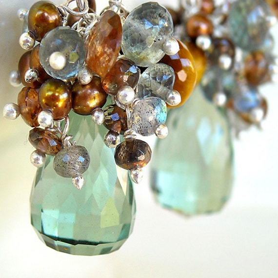 RESERVED Nerissa Earrings - mint green quartz, andalusite, tigers eye, pearl and silver