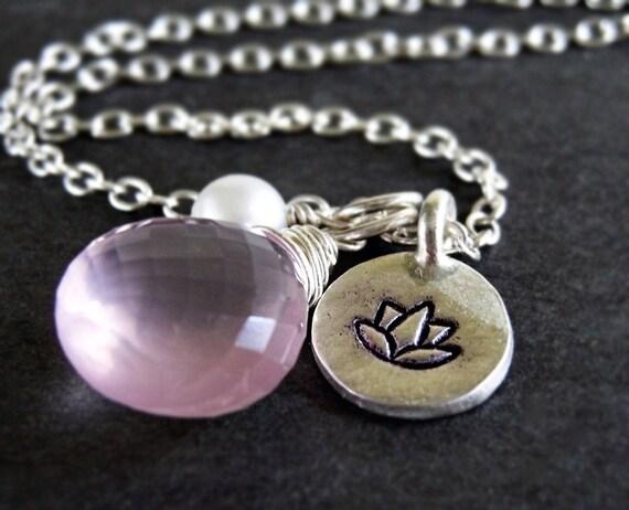 Sakura Necklace - rose quartz, hand stamped lotus charm, pearl, silver