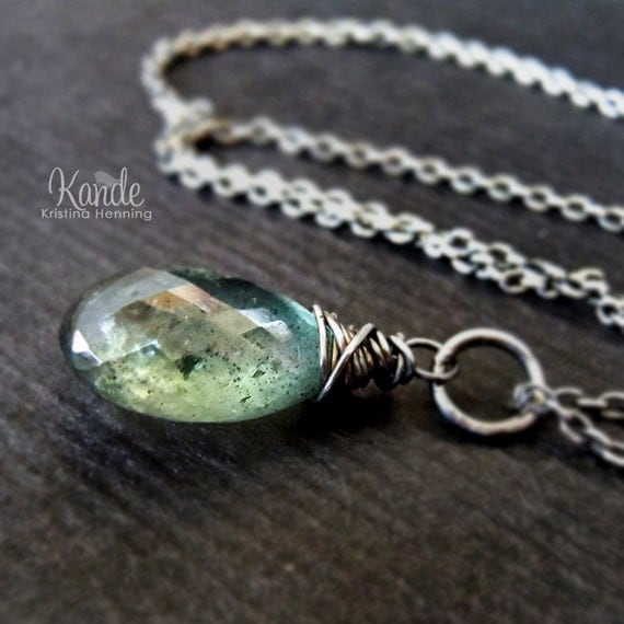 Moss aquamarine necklace, oxidized silver, wire wrapped, Kande - Olivia Necklace