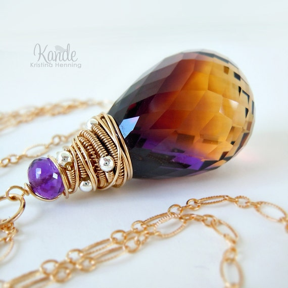 Ametrine Gold Necklace Purple Yellow Wire Wrapped Amethyst Citrine Pendant Bold Colorful Fashion Kande