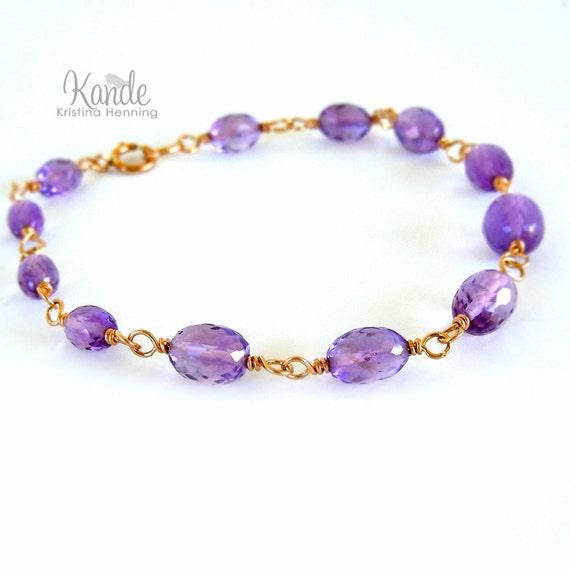 Sale Amethyst Gold Bracelet Wire Wrapped Gemstone Purple Spring Fashion Kande