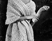 Stole Shawl Hairpin Lace Crochet Pattern Vintage 725008