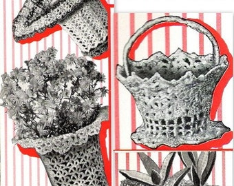 Baskets 4- 1940 Vintage Crochet Patterns 723036