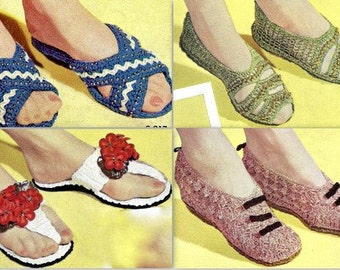 Lounging Slippers (4) Crochet Patterns Vintage 723051