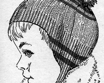 Girl or Boy Stripped Cap Knitting Pattern Vintage 726036