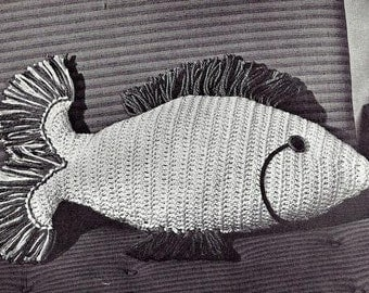 Fish Pillow Crochet Pattern Vintage 723084