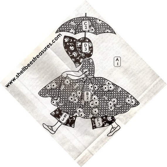 Sunbonnet Sue-Umbrella Girl Applique Quilt Pattern Vintage 721001