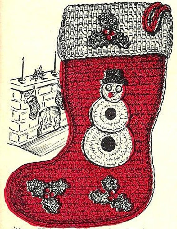 Christmas Stocking Crochet Pattern Vintage By