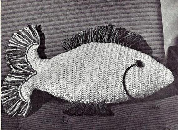 Fish Pillow Crochet Pattern Vintage 723084