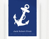 Nautical Anchor Baby Name Birth Childs Room Keepsake Print