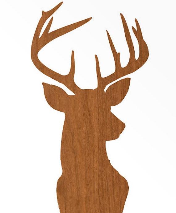 Items Similar To Deer Head Print Silhouette Faux Wood