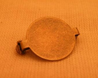 Antiqued Brass Bar Pin Brooch Blank 20mm pad