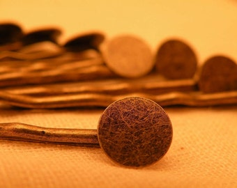 Vintage Style Antiqued Brass Bobby Pin Blanks with soldered pad to embellish  8 pcs