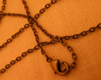 """14"""" Choker Chain Necklace Blank with Lobster Clasp Antiqued Brass Tiny Links"""