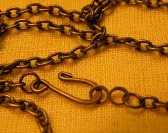 """Antiqued Brass Chain Blank 26"""" Vintage Style Hook Clasp"""