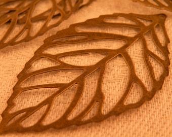 Antiqued Brass Metal Stamping Filigree Organic Skeleton Leaf Focals set of 5