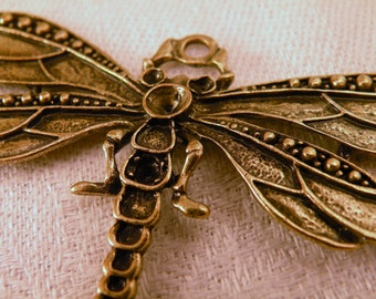 Deco Dragonfly Pendant Antiqued Brass Huge ready to jewel