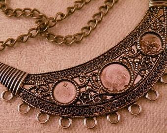 Huge Tibetan Style Antiqued Silver Crescent Focal Necklace Blank