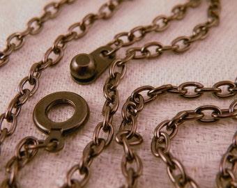 "Gunmetal Black Goth Vintage Steampunk Chain Blank  30"""