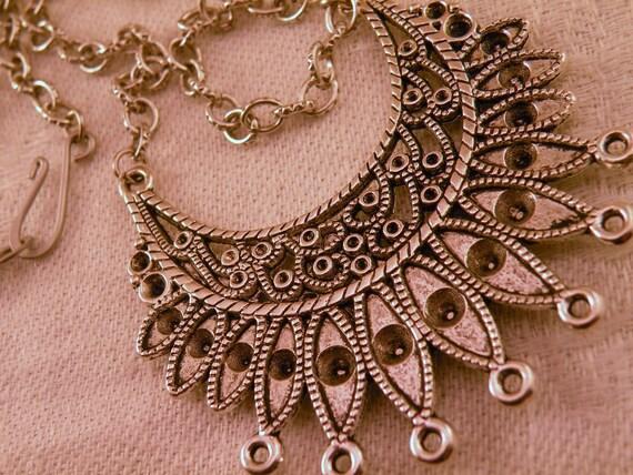 Antiqued Silver Crescent Sunburst 7 loop Focal Necklace Blank