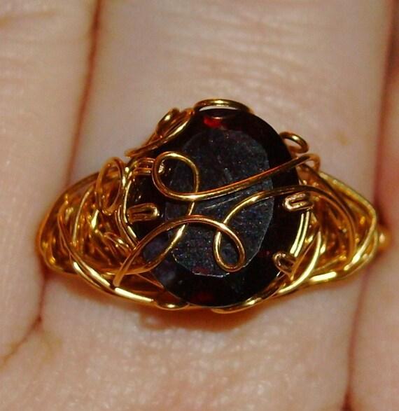 Large Garnet ring size 9