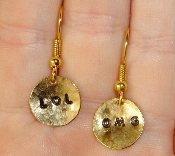 LOL OMG Metal Stamped Earrings