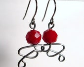 Wire Earrings Red Beads