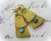 Steampunk Earrings - Antique Watch Parts Blue Crystals
