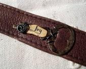 Steampunk Bracelet Leather Cuff Skeleton Key Joy