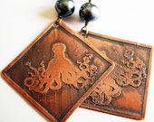 Etched Copper Earrings Octopus with Fresh Water Pearl