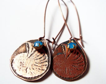 Etched Copper Earrings Ammonite Fossils with Blue Dangle