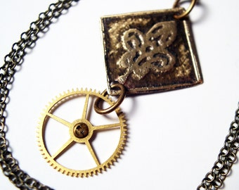 Etched Brass Necklace with Steampunk Gear