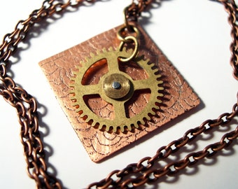 Etched Copper Necklace with Steampunk Gear