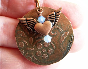 Etched Copper Full Moon Necklace with Heart Wings