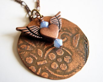 Etched Copper Necklace Moon with Winged Heart