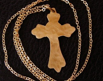 Hammered Brass Cross Necklace