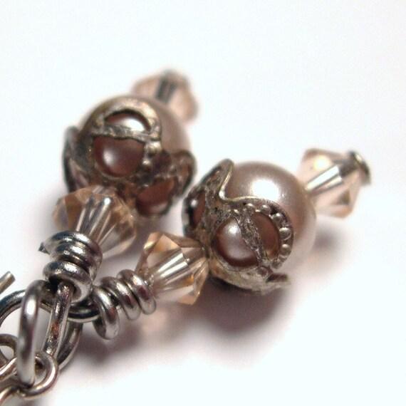 Earrings Swarovsky Pearls, Vintage Bead Caps