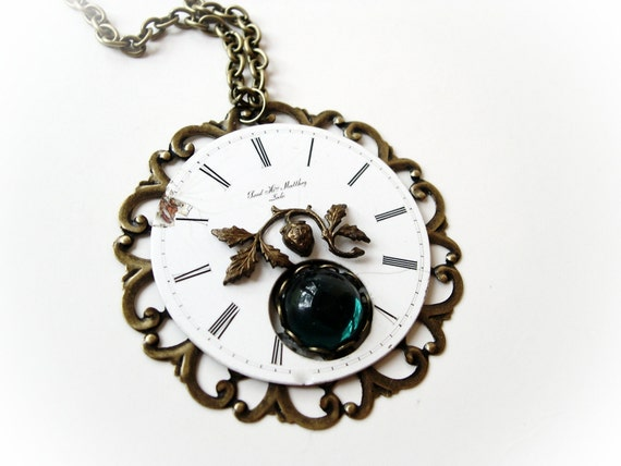 Steampunk Antique Watch Face Necklace