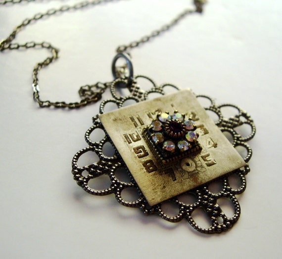 Steampunk Necklace Watch Face Filigree Rhinestones