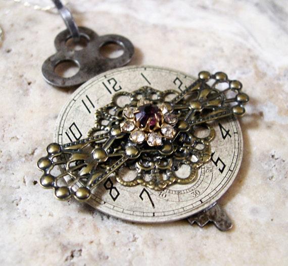 Steampunk Watch Face Necklace Filigree Skeleton Key