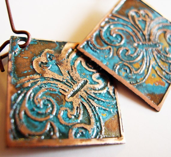 Etched Copper Earrings Flourishes with Patina