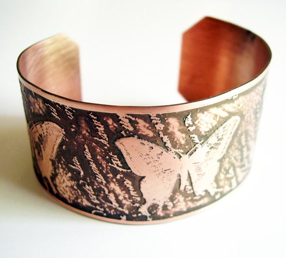 Etched Copper Cuff Butterfly on French Handwriting