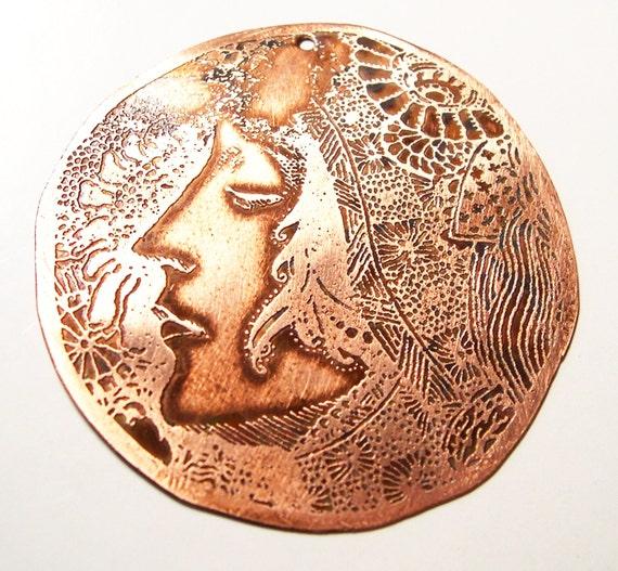 Etched Copper Art Nouveau Face