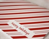 Peppermint Stripe, Set of 6 Happy Holiday Cards