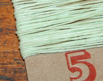 5 yards MINT GREEN waxed Irish linen thread