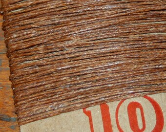10 yards WALNUT BROWN waxed Irish linen thread