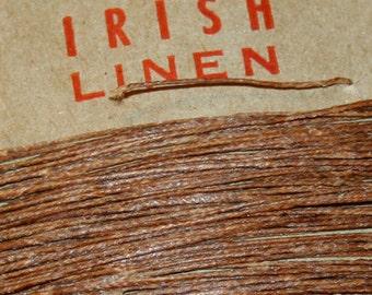 25 yards of WALNUT BROWN waxed Irish linen thread