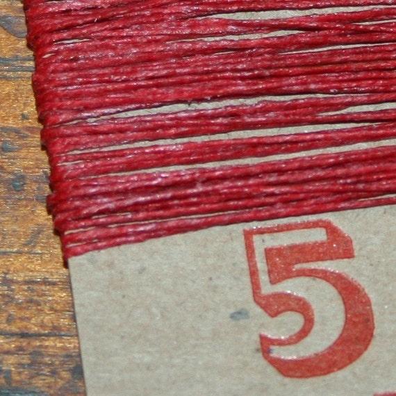 5 yards RED waxed Irish linen thread