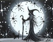 Witch ACEO Print Magic  Night Full Moon Black and White - Walking with my cat  M7-6